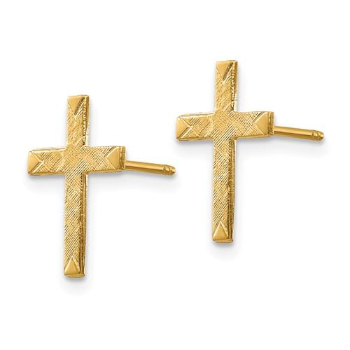14kt Yellow Gold 1/2in Brushed Cross Earrings