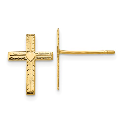 14kt Yellow Gold 1/2in Satin Heart Cross Earrings
