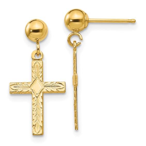 14kt Yellow Gold 3/4in Hollow Cross Earrings