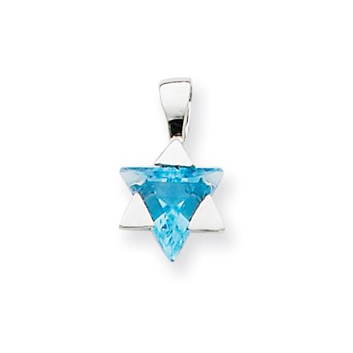 14k White Gold 3/8in Blue Topaz Star of David Charm