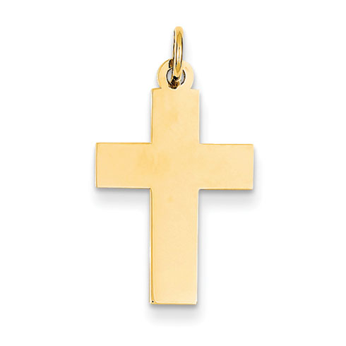 14kt 13/16in Polished Cross Pendant