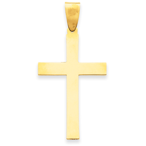14k Yellow Gold Engravable Cross Pendant 1 1/4in