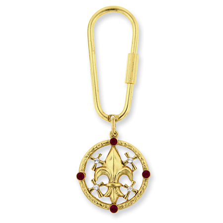 Gold-tone Blessed Flower of the Lily Key Fob