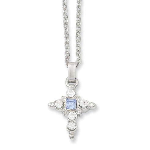 Silver-tone Blue & Clear Crystal Cross Necklace