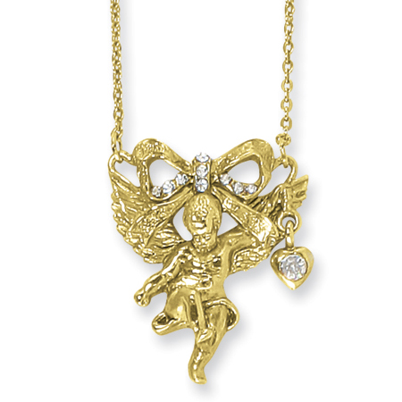 Gold-tone Angel with Crystal Bow Necklace