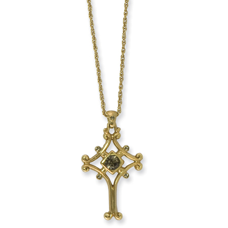 18in Gold-tone Cross Necklace