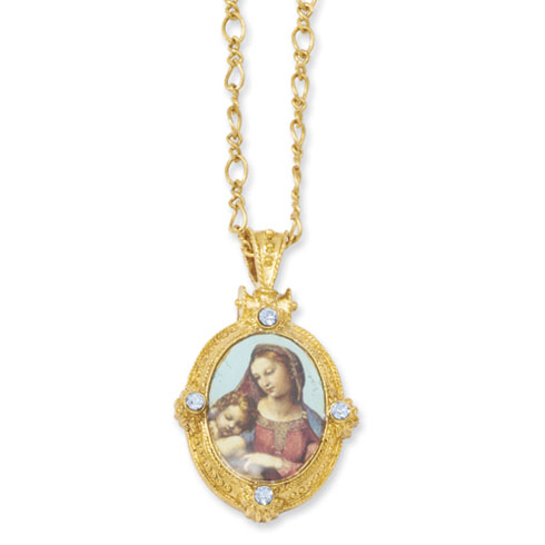 Gold-tone Madonna & Child Necklace