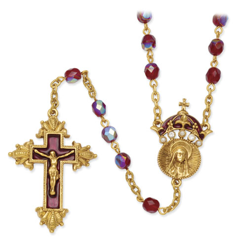 Gold Tone 28in Red King Of Kings Crucifix Rosary Necklace