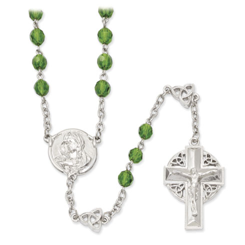 Silver-tone 28in Celtic Crucifix Rosary with Green Crystal Beads