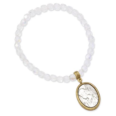 Gold & Silver-tone Guardian Angel Stretch Bracelet