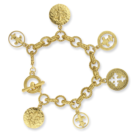 Gold-tone Blessed Flower of the Lily Charm Bracelet