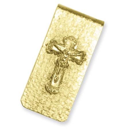 Gold-tone Crucifix Money Clip