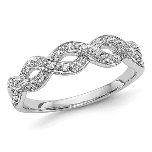 14k White Gold 1/10 ct Diamond Infinity Ring
