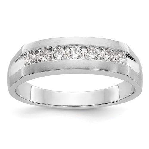 14k White Gold 1/2 ct True Origin Created Diamond Men's Channel Ring