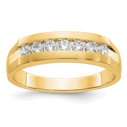 14k Yellow Gold 1/2 ct True Origin Created Diamond Mens Channel Ring