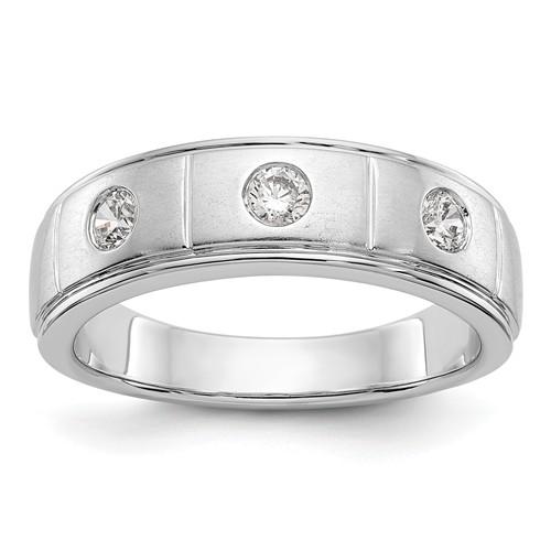 14k White Gold 1/3 ct True Origin Created 3 Stone Diamond Men's Ring