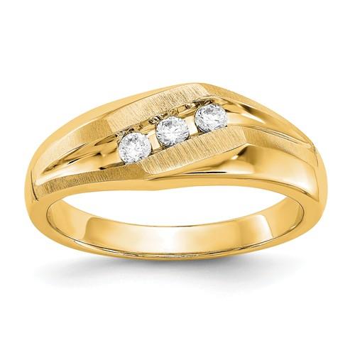 14k Yellow Gold 1/5 ct True Origin Created 3 Stone Diamond Men's Ring