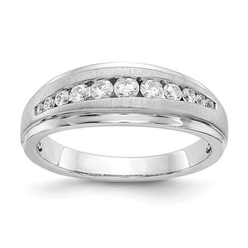 14k White Gold 1/2 ct True Origin Created Diamond 12-Stone Men's Ring