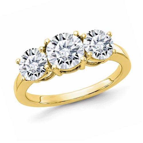 14k Yellow Gold 2.2 ct Pure Light Moissanite 3 Stone Ring