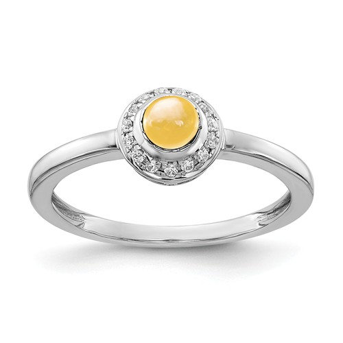 14k White Gold 0.52 ct Citrine Cabochon Ring with Diamonds