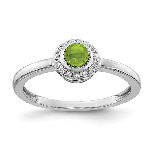 14k White Gold 0.52 ct Peridot Cabochon Ring with Diamonds