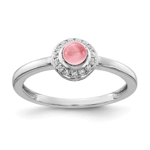 14k White Gold 0.52 ct Pink Tourmaline Cabochon Ring with Diamonds