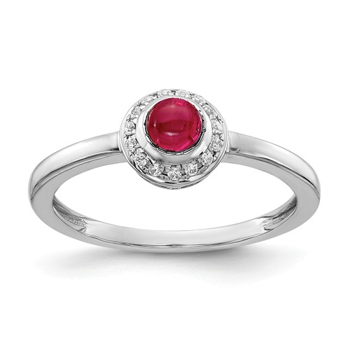 14k White Gold 0.38 ct Ruby Cabochon Ring with Diamonds