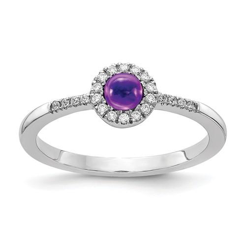 14k White Gold 0.5 ct Amethyst Cabochon Diamond Halo Ring