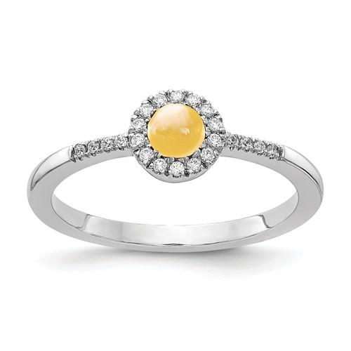14k White Gold 0.5 ct Citrine Cabochon Diamond Halo Ring