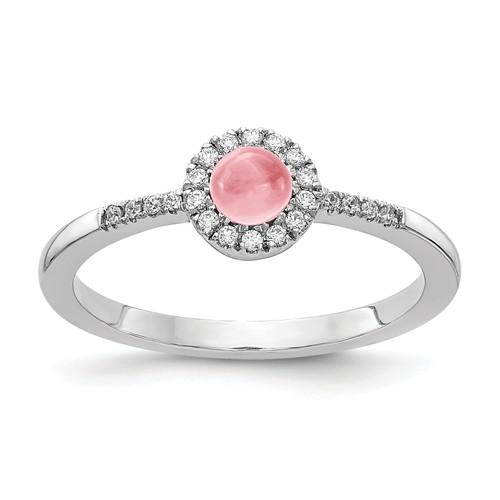 14k White Gold 0.5 ct Pink Tourmaline Cabochon Diamond Halo Ring