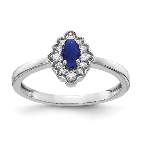 14k White Gold 0.3 ct Oval Sapphire Cabochon Ring with Diamonds