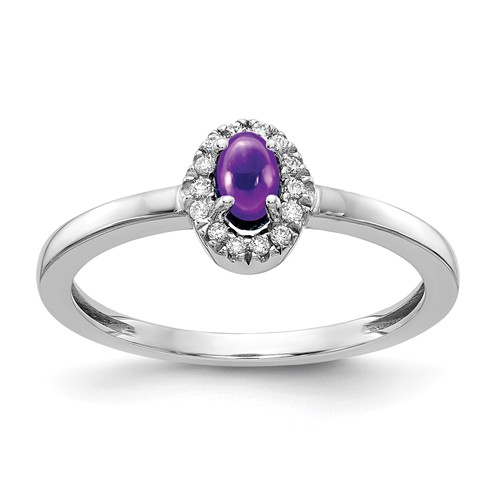 14k White Gold 0.37 ct Oval Amethyst Cabochon Diamond Halo Ring