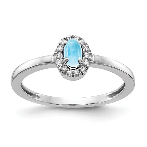 14k White Gold 0.37 ct Oval Blue Topaz Cabochon Diamond Halo Ring