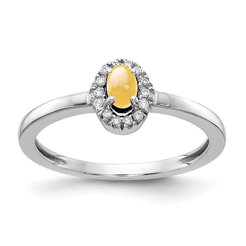 14k White Gold 0.37 ct Oval Citrine Cabochon Diamond Halo Ring