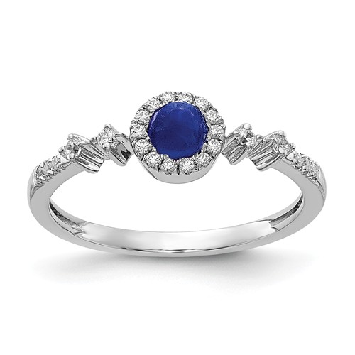 14k White Gold 0.38 ct Blue Sapphire Promise Ring with Diamonds
