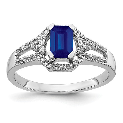 14k White Gold 0.5 ct Emerald-cut Sapphire Ring with Diamonds