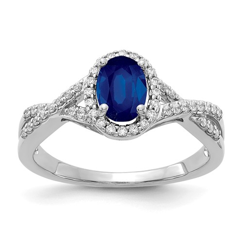 14K White Gold 1 ct tw Oval Sapphire Ring with Diamonds