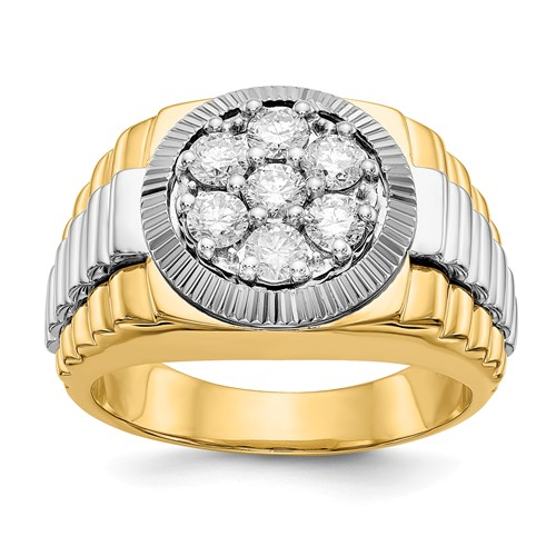 14k Two-tone Gold 1 ct tw Lab Grown Diamond Ring with Fluted Crown