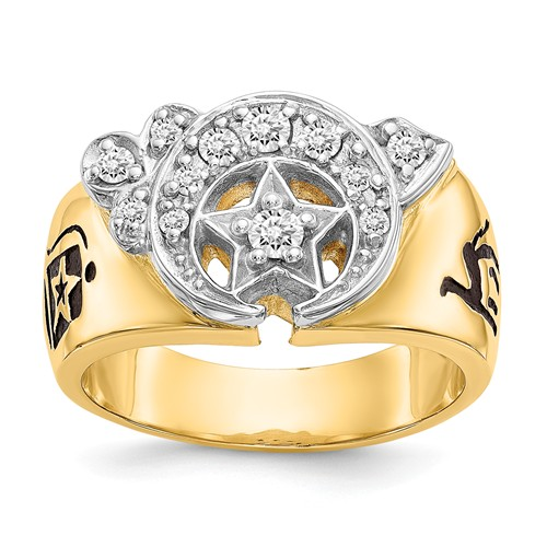 14k Two-tone Gold 2/5 ct tw Lab Grown Diamond Shriners Ring