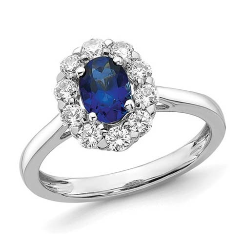 14k White Gold 1 ct Oval Created Sapphire Lab Grown Diamond Halo Ring