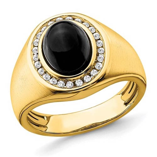 14k Yellow Gold 2.5 ct Oval Onyx Brushed Ring with Diamonds