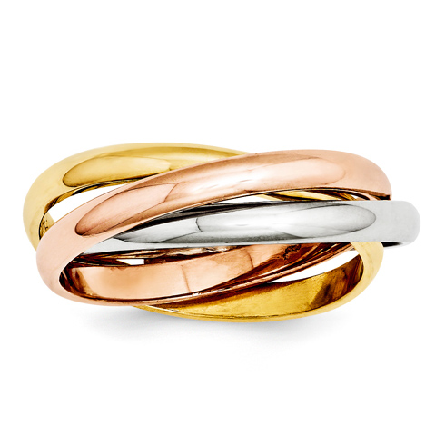 14kt Tri-color Gold Hollow Rolling Rings