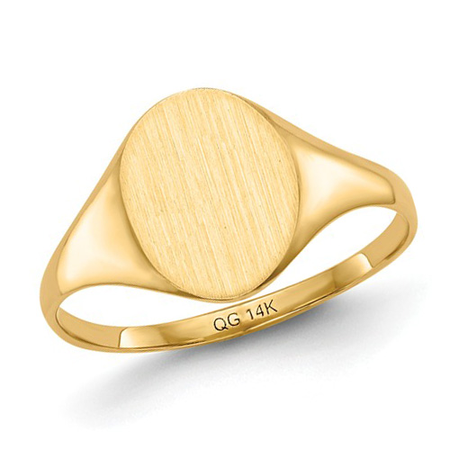 14kt Yellow Gold Ladies' Tapered Signet Ring with Solid Back