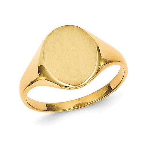14kt Yellow Gold Ladies' Slender Solid Back Signet Ring