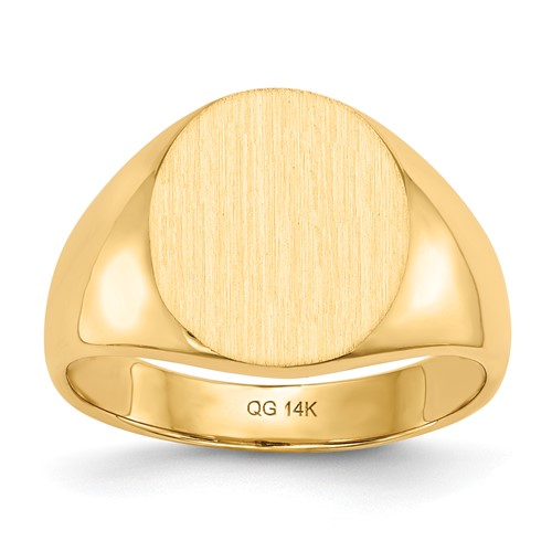 14kt Yellow Gold Men's Solid Back Signet Ring