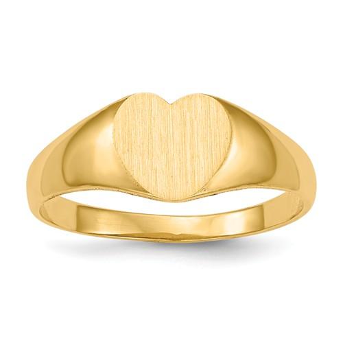 Ladies' Heart Signet Ring 14k Yellow Gold