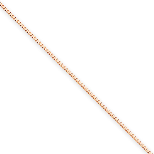 14kt Rose Gold 18in Box Link Chain .7mm