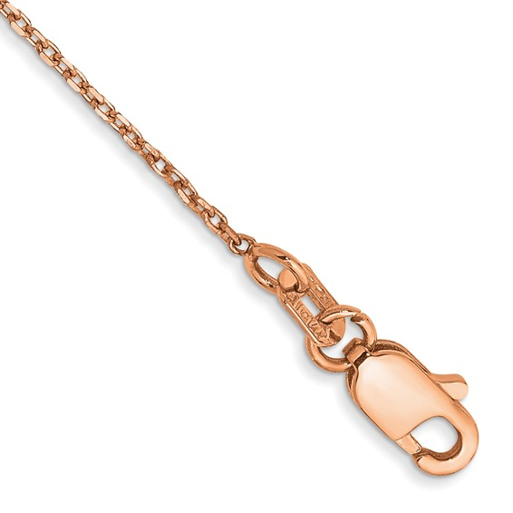 14kt Rose Gold 24in Cable Chain 1mm