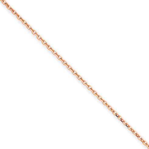 14kt Rose Gold 18in Diamond-cut Cable Chain 1.4mm
