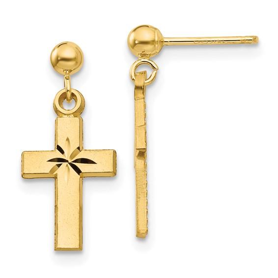 14kt Yellow Gold 3/4in Diamond-cut Cross Earrings